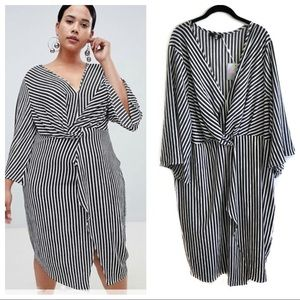 NWT Missguided curve wrap front midi stripe dress